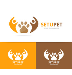 Paw and people logo combination pet and vector