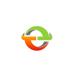 round 3d circle colored technology logo vector image