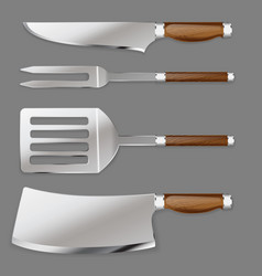 Set of kitchen tools for cutting foods and cooking vector