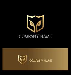 Shield gold leaf ecology logo vector