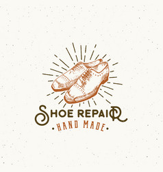 shoe repair retro sign symbol or logo vector image vector image