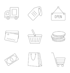 Supermarket icons set outline style vector