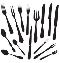 Table setting set fork knife spoon sketch cutlery vector