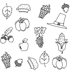 Thanksgiving fruit and vegetable doodle vector
