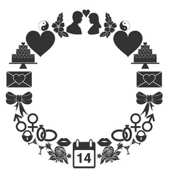 valentines day round frame of the icons set of vector image vector image