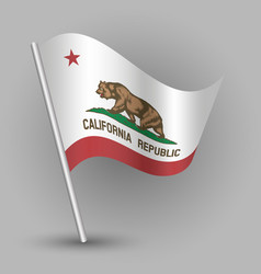 waving triangle american state flag california vector image vector image