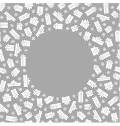 White gift box and snowflake around circle vector