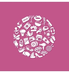 Women icons in circle vector