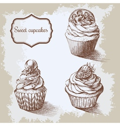 vintage background Hand drawn sweet cupcakes with vector image