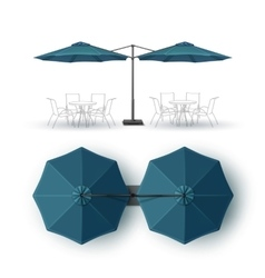 Blue double outdoor bar pub round parasol vector