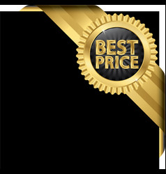 Best price golden label with ribbons vector