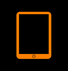 Computer tablet sign orange icon on black vector