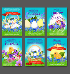 Easter egg rabbit chicken greeting card template vector