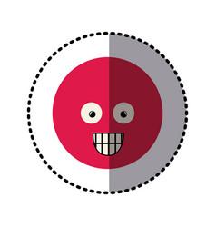 sticker colorful emoticon surprised face vector image