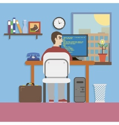 Workplace room with programmer and website code in vector