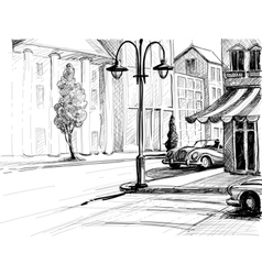Retro city sketch street buildings and old cars vector