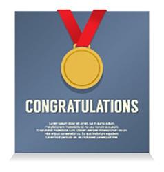Golden medal with congratulations card vector