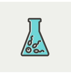 Chemical bottle with virus bacteria thin line icon vector