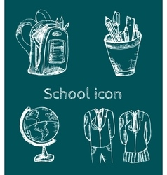 Hand drawn school icon set vector