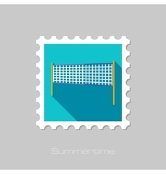 Volleyball net beach sport flat stamp vector