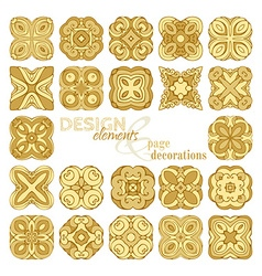 Set of square gold geometric ornaments vector