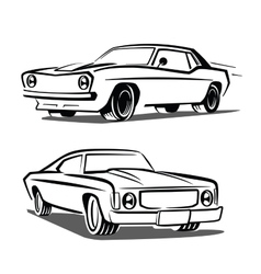 Black muscle car vector