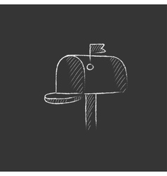 Mail box drawn in chalk icon vector