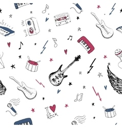 Music symbols Seamless pattern rock background vector image