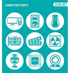 Set of round icons white computer parts computer vector