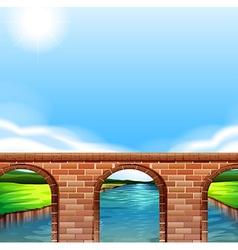A bridge under the bright sun vector