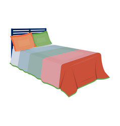 Baby bed with colorful blanketbed for sleeping vector