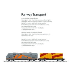 Brochure locomotive with orange cargo container vector