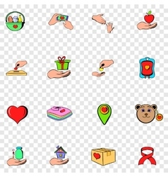 Charity set icons vector