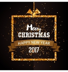 Christmas and Happy new year golden card vector image vector image