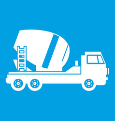 Concrete mixer truck icon white vector