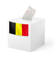 Election in belgium ballot box with voicing paper vector