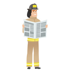 Firefighter reading newspaper vector