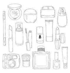 Hand drawn cosmetics set Beauty and makeup vector image