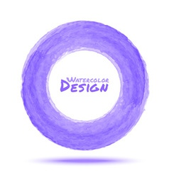 Hand drawn watercolor light violet circle design e vector image