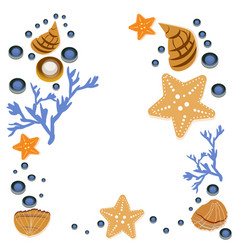 Happy summer greeting card with seashells on white vector