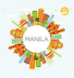 Manila skyline with color buildings blue sky and vector