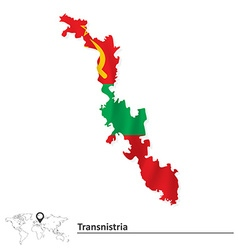 Map of Transnistria with flag vector image