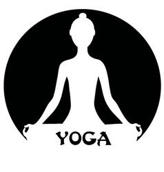 Meditating woman - yoga concept vector