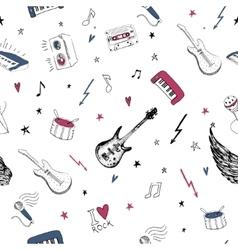 Music symbols Seamless pattern rock background vector image
