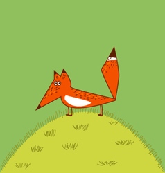 Orange fox big tail cute funny cartoon style vector
