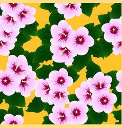 pink hibiscus syriacus - rose of sharon on yellow vector image vector image