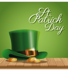 Poster st patrick day gold coins hat on wooden vector