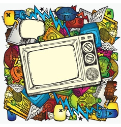retro tv background vector image