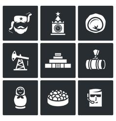 Russian food attraction industry icons set vector
