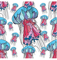 seamless pattern with jellyfish vector image vector image